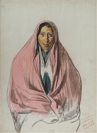 femme perse en costume d'intérieur [persian woman in interior costume] by alexander evgenievich iacovleff